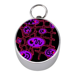 Purple and red abstraction Mini Silver Compasses
