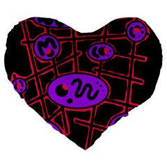 Purple and red abstraction Large 19  Premium Flano Heart Shape Cushions