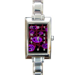Purple and red abstraction Rectangle Italian Charm Watch