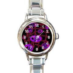 Purple and red abstraction Round Italian Charm Watch