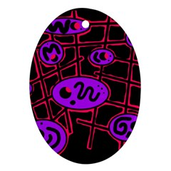 Purple and red abstraction Ornament (Oval)