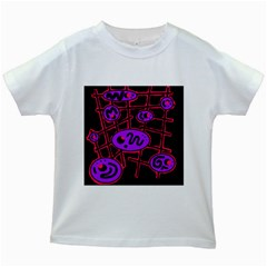 Purple and red abstraction Kids White T-Shirts