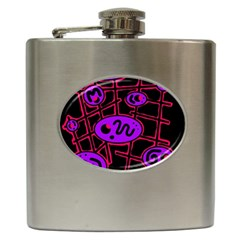 Purple and red abstraction Hip Flask (6 oz)
