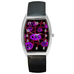 Purple and red abstraction Barrel Style Metal Watch