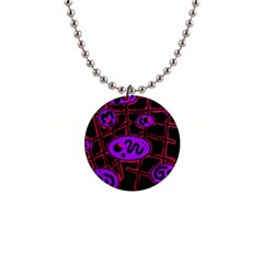 Purple and red abstraction Button Necklaces
