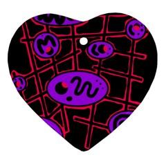 Purple and red abstraction Heart Ornament (2 Sides)