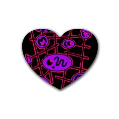 Purple and red abstraction Rubber Coaster (Heart)