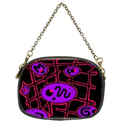 Purple and red abstraction Chain Purses (Two Sides)