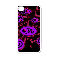 Purple and red abstraction Apple iPhone 4 Case (White)
