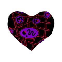 Purple and red abstraction Standard 16  Premium Heart Shape Cushions