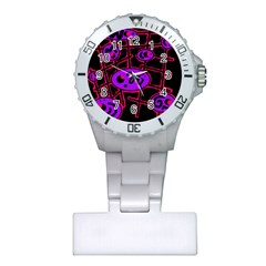 Purple and red abstraction Plastic Nurses Watch