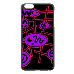 Purple and red abstraction Apple iPhone 6 Plus/6S Plus Black Enamel Case