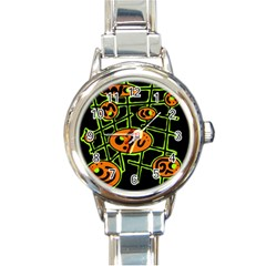 Orange and green abstraction Round Italian Charm Watch