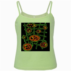 Orange and green abstraction Green Spaghetti Tank