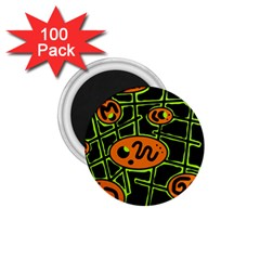 Orange and green abstraction 1.75  Magnets (100 pack)