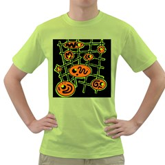 Orange and green abstraction Green T-Shirt