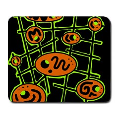 Orange and green abstraction Large Mousepads