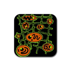 Orange and green abstraction Rubber Coaster (Square)