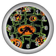 Orange and green abstraction Wall Clocks (Silver)