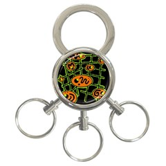 Orange and green abstraction 3-Ring Key Chains