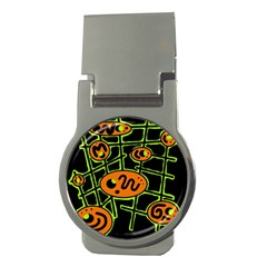 Orange and green abstraction Money Clips (Round)