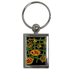 Orange and green abstraction Key Chains (Rectangle)