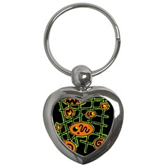 Orange and green abstraction Key Chains (Heart)