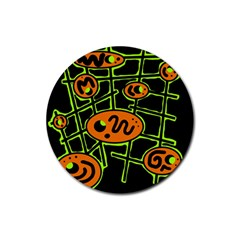 Orange and green abstraction Rubber Coaster (Round)