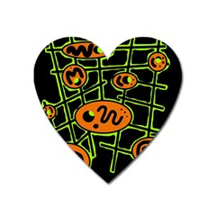 Orange and green abstraction Heart Magnet