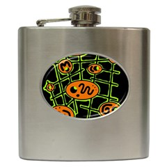 Orange and green abstraction Hip Flask (6 oz)
