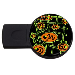 Orange and green abstraction USB Flash Drive Round (2 GB)