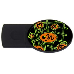 Orange and green abstraction USB Flash Drive Oval (2 GB)