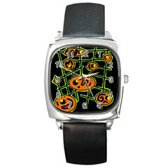 Orange and green abstraction Square Metal Watch