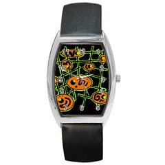 Orange and green abstraction Barrel Style Metal Watch