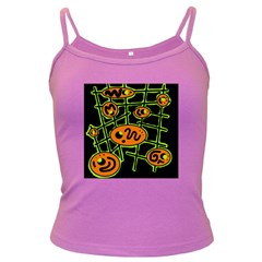 Orange and green abstraction Dark Spaghetti Tank