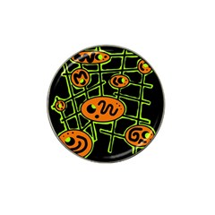 Orange and green abstraction Hat Clip Ball Marker (4 pack)