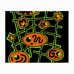 Orange and green abstraction Small Glasses Cloth