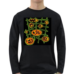 Orange and green abstraction Long Sleeve Dark T-Shirts