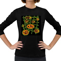 Orange and green abstraction Women s Long Sleeve Dark T-Shirts