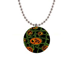Orange and green abstraction Button Necklaces