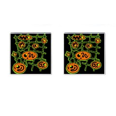 Orange and green abstraction Cufflinks (Square)