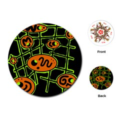 Orange and green abstraction Playing Cards (Round)