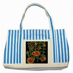 Orange and green abstraction Striped Blue Tote Bag