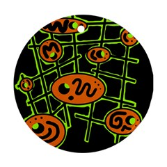 Orange and green abstraction Round Ornament (Two Sides)