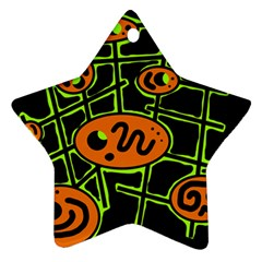 Orange and green abstraction Star Ornament (Two Sides)