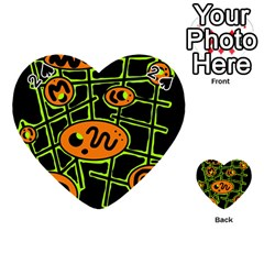 Orange and green abstraction Playing Cards 54 (Heart)
