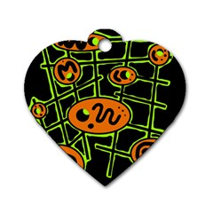 Orange and green abstraction Dog Tag Heart (One Side)