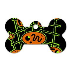 Orange and green abstraction Dog Tag Bone (Two Sides)