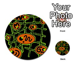 Orange and green abstraction Multi-purpose Cards (Round)