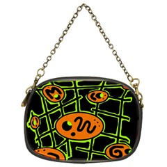 Orange and green abstraction Chain Purses (Two Sides)